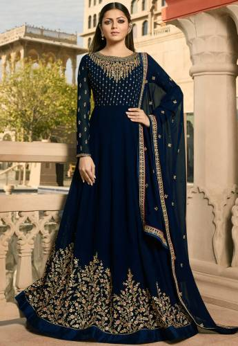 Adorable Dark Blue Georgette With Embroidered And Stone Work Party Wear Semi Stitched Suit-VT3048101DSuit