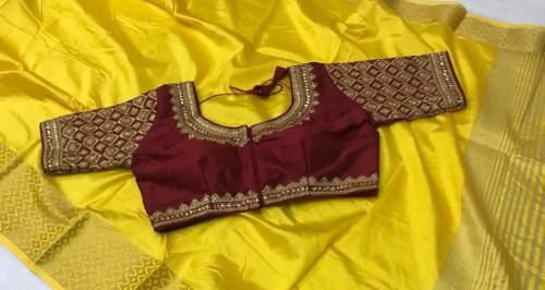 Flirty Yellow & Maroon Pure Tusser Silk With Chit Pallu Saree And Ready Blouse For Women-VT621101A