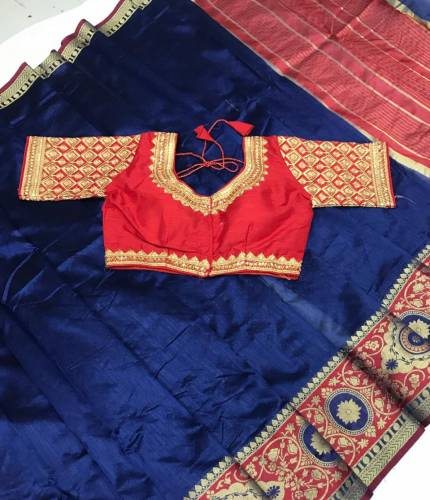 Flamboyant Blue & Red Pure Crystal Silk With Chit Pallu Saree And Full Stitched Blouse With Embroidered Work-VT621102A