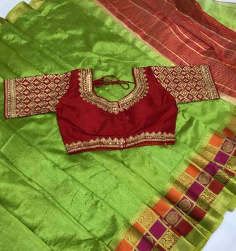Stylish Green & Red Designer Pure Crystal Silk Saree With Full Stitched Embroidered Work Blouse For Function Wear-VT621102B
