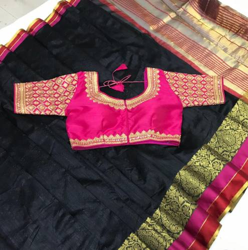 Excellent Black & Pink Pure Crystal Silk Designer Saree And Embroidered Work Full Stitched Blouse-VT621102C