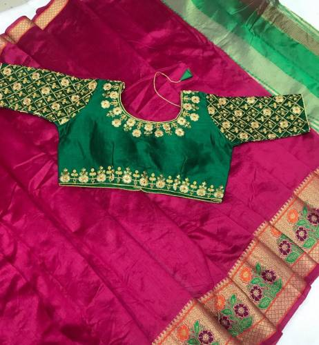 Pink & Dark Green Designer Pure Crystal Silk Saree And Embroidered Work Full Stitched Blouse For Party Wear-VT621102D