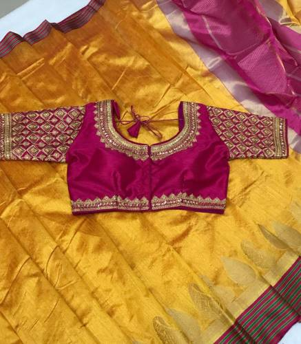 Attractive Pink & Yellow Pure Crystal Silk Designer Saree And Full Stitched Embroidered Work Blouse For Women-VT621102E