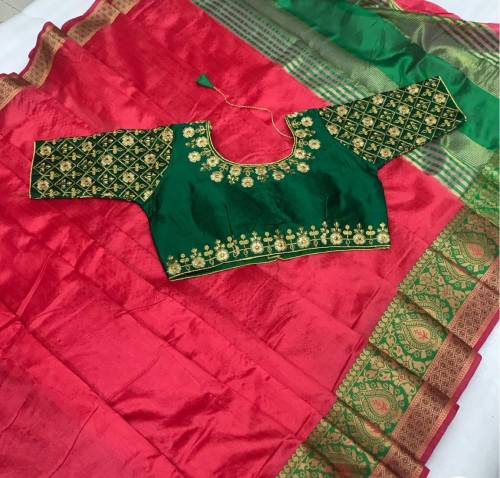 Innovative Red & Dark Green Pure Crystal Silk Saree And Designer Full Stitched Blouse-VT621102F