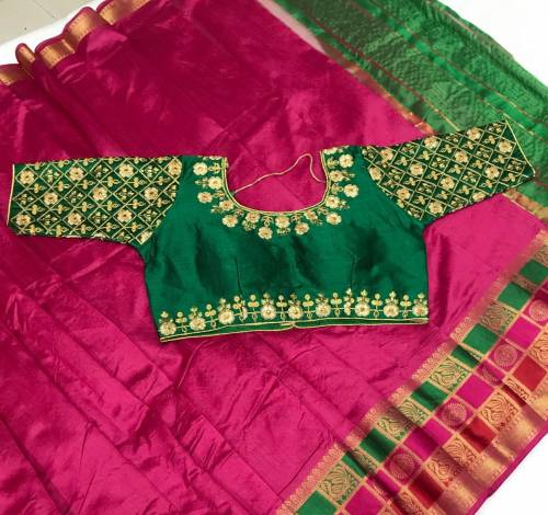 Pleasance Green & Pink Designer Pure Crystal Silk Saree And Embroidered Work Full Stitched Blouse-VT621102G