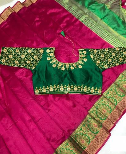 Charming Pink & Green Designer Pure Crystal Silk Saree And Embroidered Full Stitched Blouse For Function Wear-VT621102I