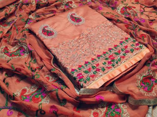Amazing Orange Colored Chanderi Silk Designer Salwar Suit With Heavy Embroidered Work Dupatta For Function Wear-SN504D