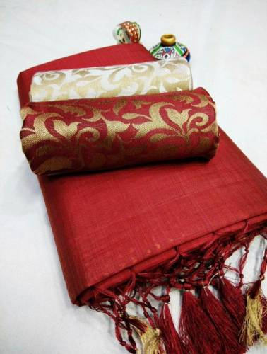 Red Color Chanderi Silk Plain Saree with Fancy Jacard Silk 2 Blouse