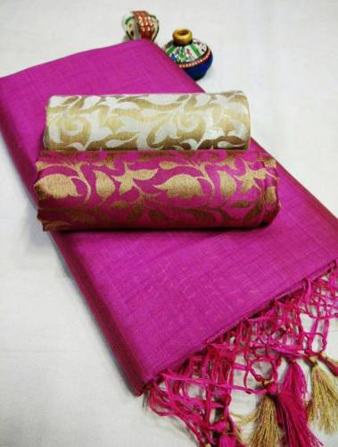 Rani Pink Color Chanderi Silk Plain Saree with Fancy Jacard Silk 2 Blouse