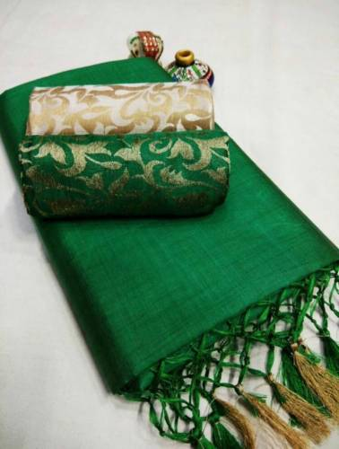 Green Color Chanderi Silk Plain Saree with Fancy Jacard Silk 2 Blouse