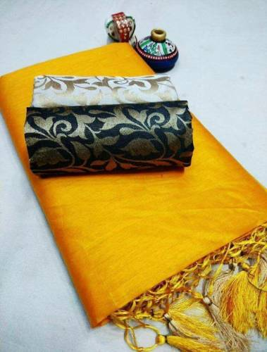 Yellow Color Chanderi Silk Plain Saree with Fancy Jacard Silk 2 Blouse