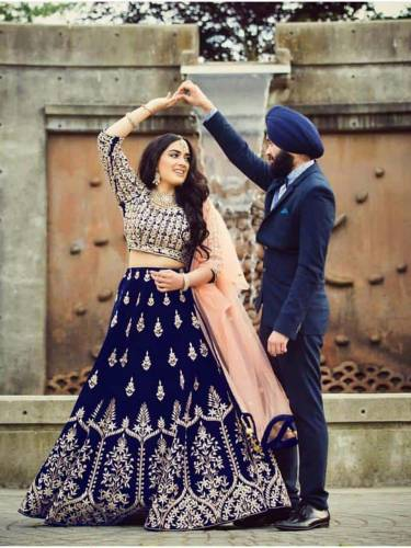 Attractive Dark Blue Bridal Wear Designer Tapeta Silk With Embroidered Work Lehenga Choli-VT1159DVD9081