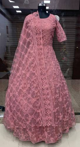 Preferable Peach Color Designer Net Thread Embroidered Stone Pasting Work Gown For Wedding Wear