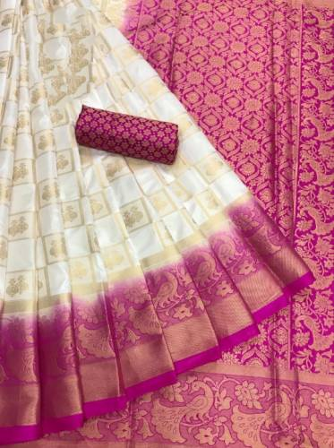 Cream & Pink Designer Naylon Silk With Rich Pallu And Running Blouse For Wedding Wear-VT3049104D