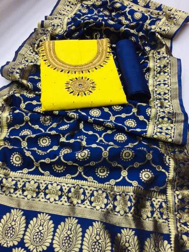 Yellow Designer Heavy PC Cotton With Hand Work Salwar Suit For Party Wear