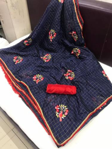 Capricious Dark Blue Designer Chanderi Chex Cotton With Embroidered Work Saree And Banglori Hand Work Blouse For Women-VT1080104D