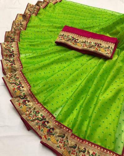 Fantastic Green Zenny Silk Butti with Jacqard weaving Saree with blouse