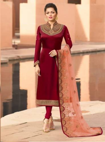 Amazing Carmine Color Party Wear Satin Georgette Embroidered Stone Work Salwar Suit For Women