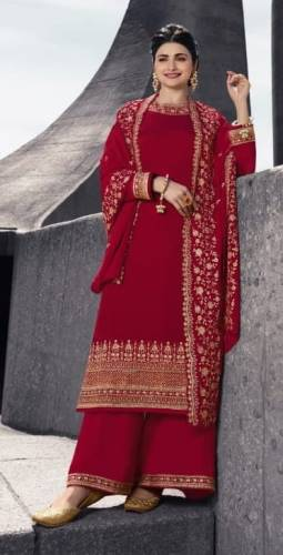 Alluring Carmine Color Party Wear Satin Georgette Embroidered Work Salwar Suit
