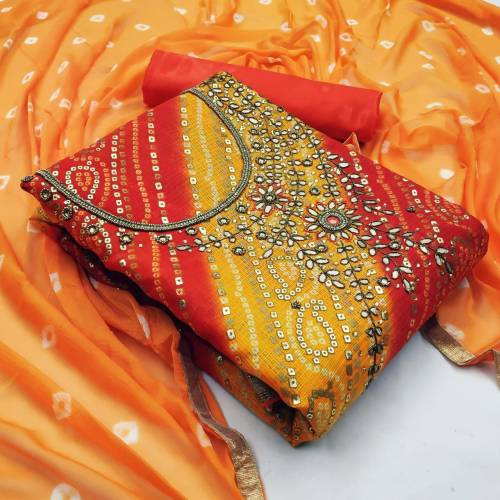 Amazing Ocher Color Banarasi Silk Bandhej Foil Hand Work Designer Salwar Suit For Function Wear