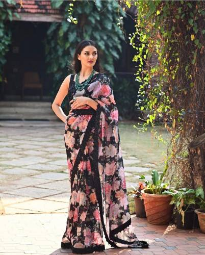 Adorable Black Color Heavy Georgette Digital Printed Sequence Work Lace Saree Blouse For Festive Wear
