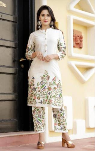 Lovely Off White Festive Wear Cotton Printed Full Stitched Kurti Plazo For Women