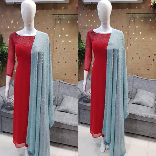 Arresting Red Color Full Stitched Festive Wear Faux Georgette Diamond Work Salwar Suit