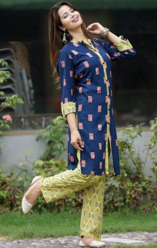 Wedding Wear Blue Color Rayon Printed Kurta with Yellow Plazo Readymade Collection