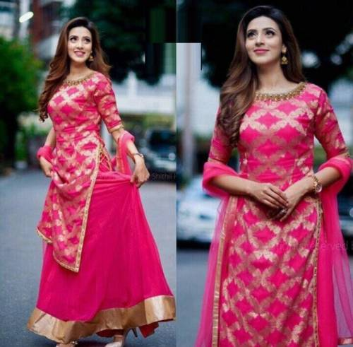 Good Looking Pink Color Heavy Rayon Gold Print Readymade Kurta With Skirt Design For Women