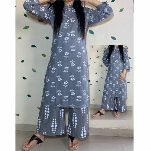Amazing Anchor Color Beautiful Hand Printed Rayon Ready Made Plazo Kurti For Women