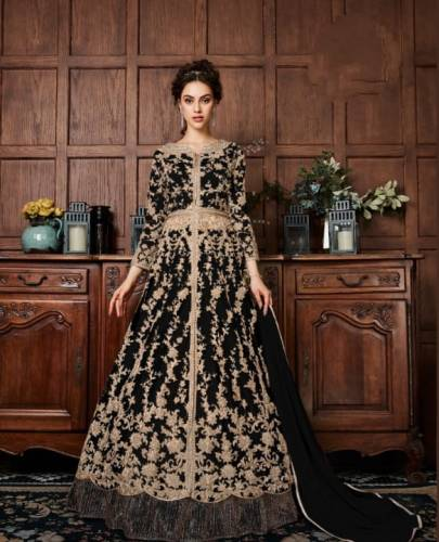 Amazing Black Color Butterfly Net Dori Embroidered Patti Stone Codding Work Salwar Suit For Wedding Wear