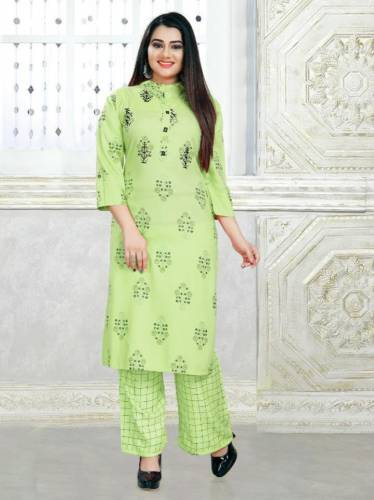 Preferable Light Green Color Full Stitched Rayon Printed Hand Work Plazo Kurti For Festive Wear