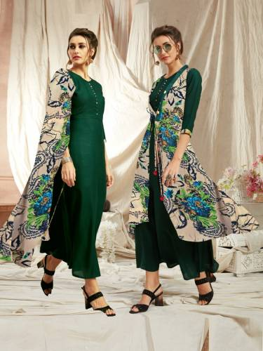 Function Wear Dark Green Rayon Kurti With Diamond Georgette Jacket Design VT2123111B