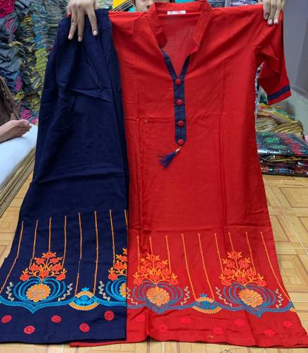 Charming Red Color Cotton Rayon Ton To Ton Embroidered Thread Work Full Stitched Plazo Kurti