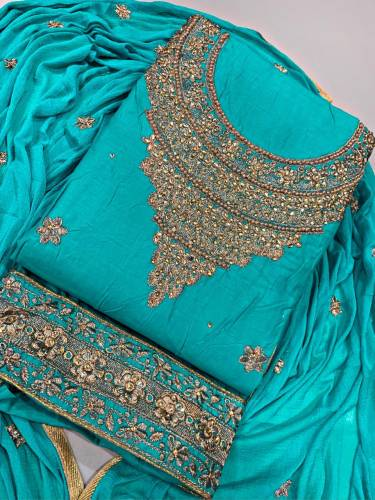 Blooming Olympic Color Festive Wear Cotton Embroidered Diamond Work Salwar Suit For Women