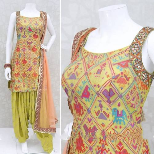 Mind Blowing Yellow Color Festive Wear Ready Made Poly Rayon Bandhani Digital Printed Patiyala Salwar Suit