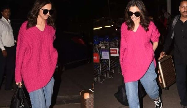 Deepika Padukone was spotted at the airport recently with her expensive sweater